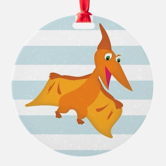 Orange Pterodactyl Dinosaur; Kids Ornament