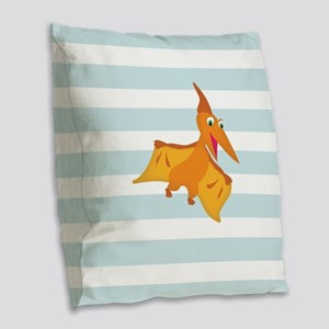Orange Pterodactyl Dinosaur; Kids Burlap Throw Pil