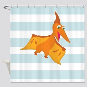Orange Pterodactyl Dinosaur; Kids Shower Curtain