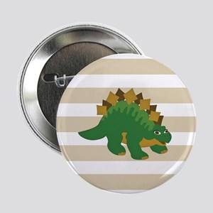 "Green Stegosaurus Dinosaur; Kids 2.25"" Button (10"