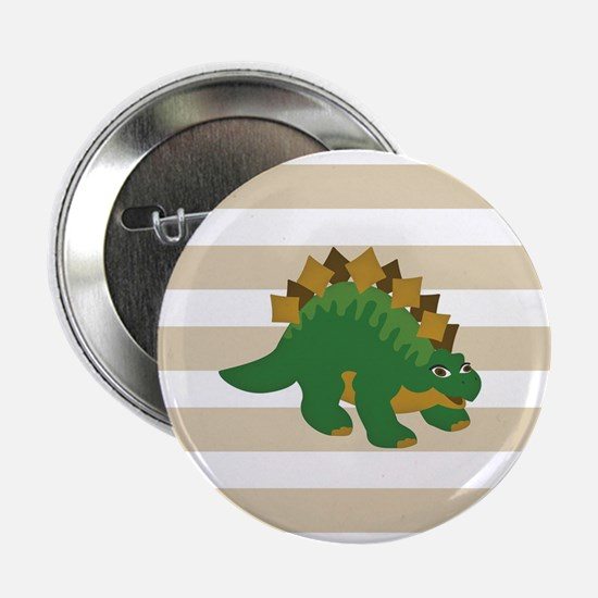"Green Stegosaurus Dinosaur; Kids 2.25"" Button (10"