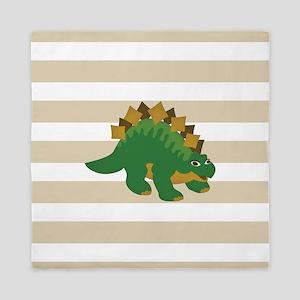 Green Stegosaurus Dinosaur; Kids Queen Duvet