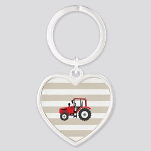 Red Farm Tractor, Farmer; on Tan and White Stripes