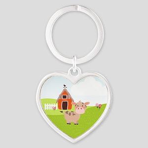 Cow and Barn, Farm Theme Kid's Keychains