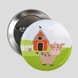 "Cow and Barn, Farm Theme Kid's 2.25"" Button (10 pa"