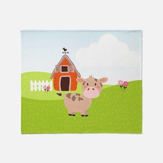 Cow and Barn, Farm Theme Kid's Throw Blanket