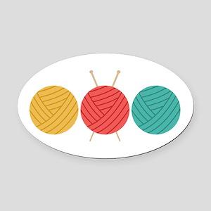 Yarn Balls Knitting Oval Car Magnet