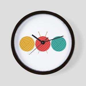 Yarn Balls Knitting Wall Clock