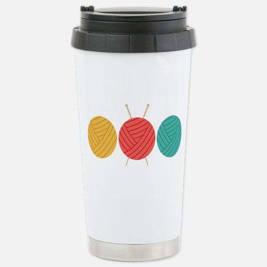 Yarn Balls Knitting Travel Mug