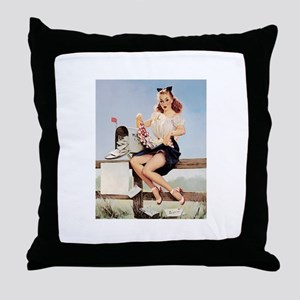 Vintage Pin-Up Throw Pillow