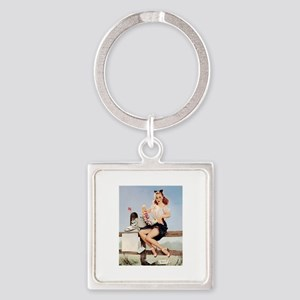 Vintage Pin-Up Square Keychain