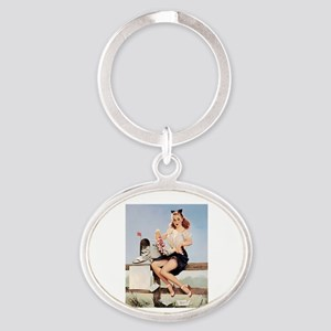 Vintage Pin-Up Oval Keychain