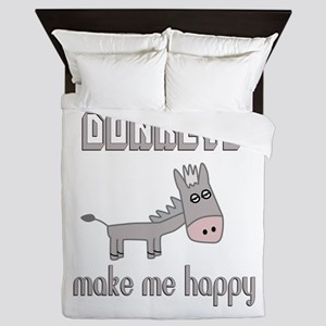 Donkeys Make Me Happy Queen Duvet