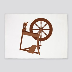 Yarn Spinning Wheel 5'x7'Area Rug