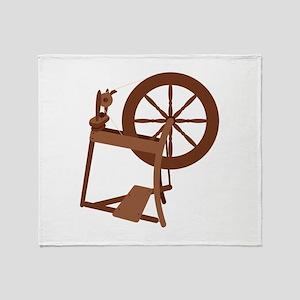 Yarn Spinning Wheel Throw Blanket