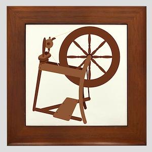 Yarn Spinning Wheel Framed Tile