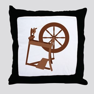 Yarn Spinning Wheel Throw Pillow