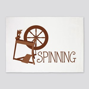 Spinning Wheel 5'x7'Area Rug