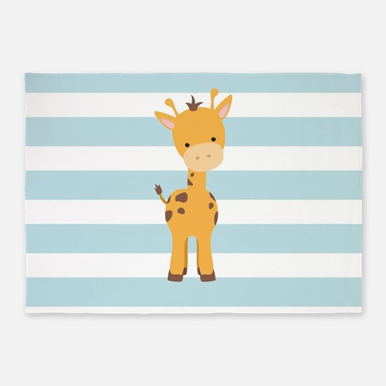 Cute Giraffe on Baby Blue and White Stripes Patter