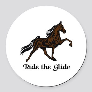 Ride The Glide Round Car Magnet