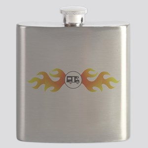 Camper with Flames Flask