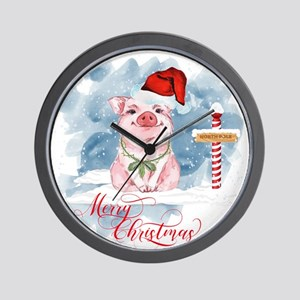 Merry Christmas Pig North Pole Wall Clock