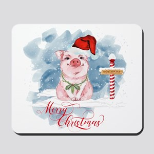 Merry Christmas Pig North Pole Mousepad