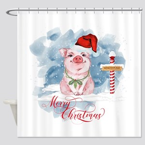 Merry Christmas Pig North Pole Shower Curtain