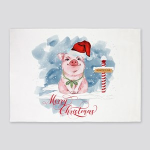 Merry Christmas Pig North Pole 5'x7'Area Rug