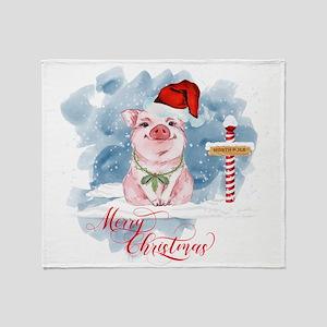 Merry Christmas Pig North Pole Throw Blanket
