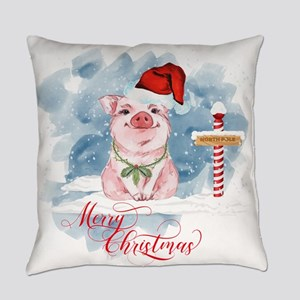 Merry Christmas Pig North Pole Everyday Pillow