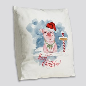 Merry Christmas Pig North Pole Burlap Throw Pillow