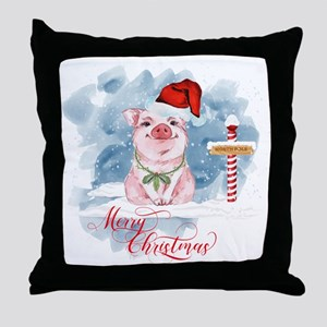Merry Christmas Pig North Pole Throw Pillow