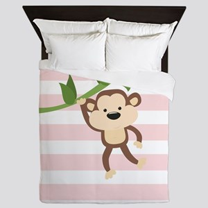 Monkey on Pastel Pink and White Stripes Pattern Qu
