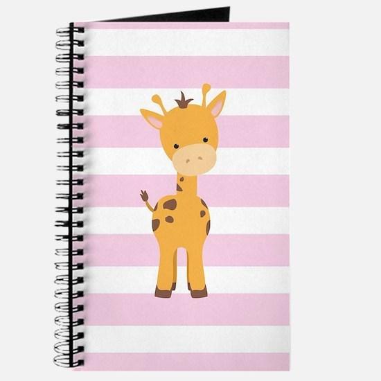Giraffe on Pastel Pink and White Stripes Pattern J