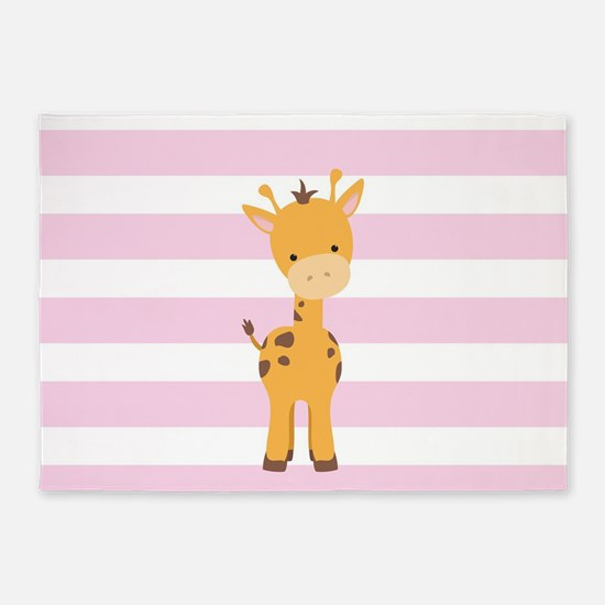 Giraffe on Pastel Pink and White Stripes Pattern 5