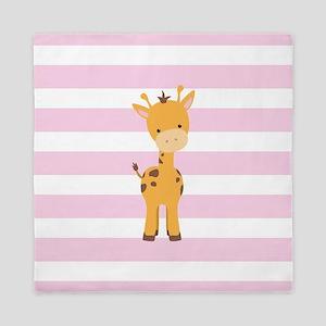 Giraffe on Pastel Pink and White Stripes Pattern Q
