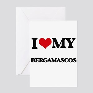I love my Bergamascos Greeting Cards