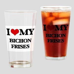I love my Bichon Frises Drinking Glass