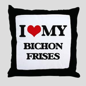 I love my Bichon Frises Throw Pillow