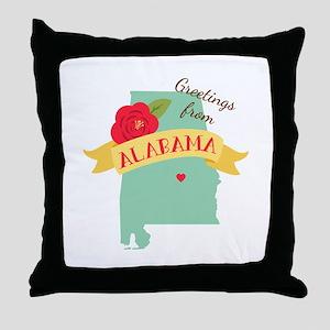 Greetings from Alabama Throw Pillow
