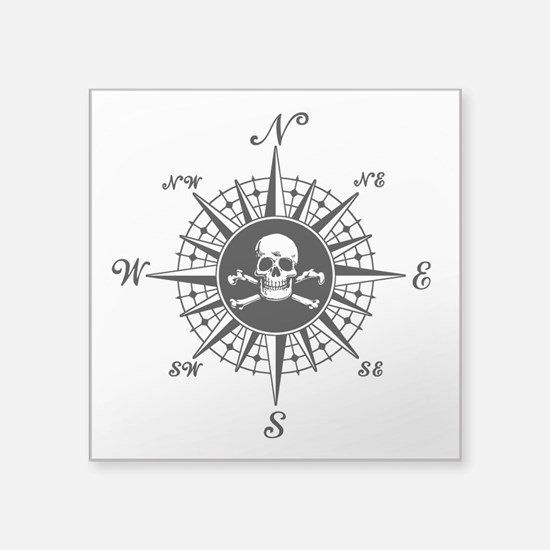 "Compass Rose II Square Sticker 3"" x 3"""