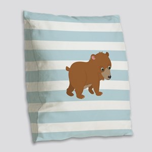 Bear on Baby Blue and White Stripes Pattern Burlap