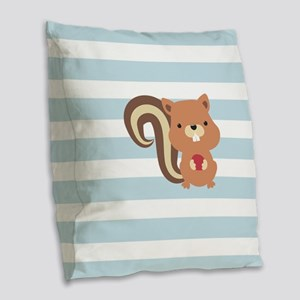Squirrel on Baby Blue and White Stripes Pattern Bu
