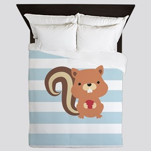 Squirrel on Baby Blue and White Stripes Pattern Qu