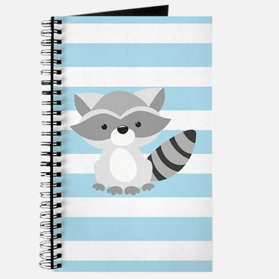 Raccoon on Baby Blue and White Stripes Pattern Jou