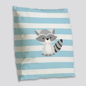 Raccoon on Baby Blue and White Stripes Pattern Bur