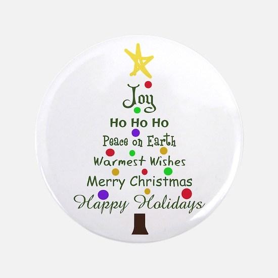 "CHRISTMAS TREE GREETINGS 3.5"" Button"