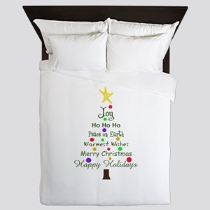 CHRISTMAS TREE GREETINGS Queen Duvet