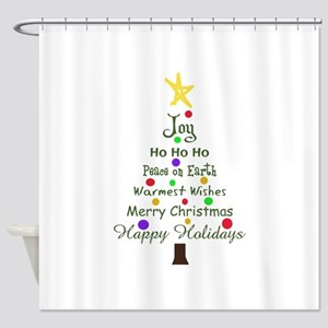 CHRISTMAS TREE GREETINGS Shower Curtain